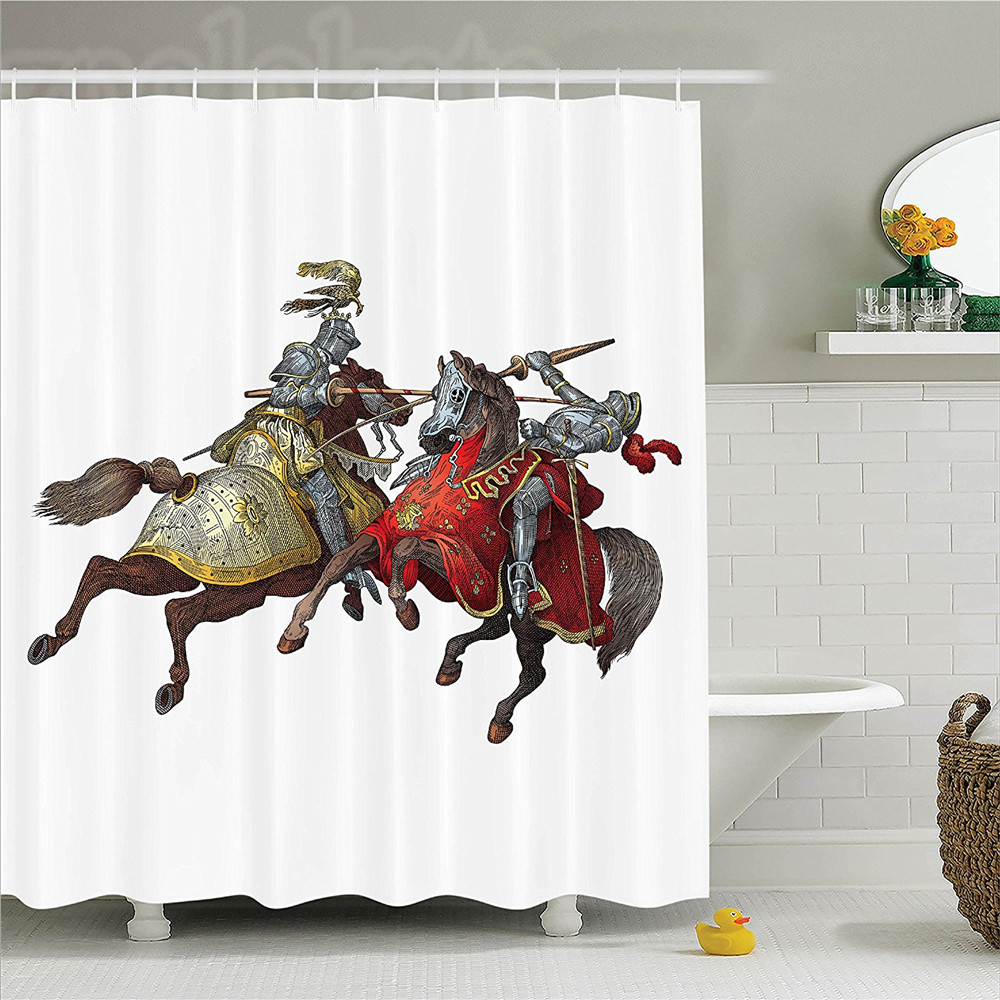 Medieval Decor Shower Curtain Set Middle Age Fighters Knights With Ancient Costume Renaissance Period Illustration Artwork Bath