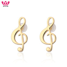 New Fashion Tiny Music Note Stud Earrings Women Gold Silver Color Elegant Steel Needle Earrings Musical Girl Jewelry Gift