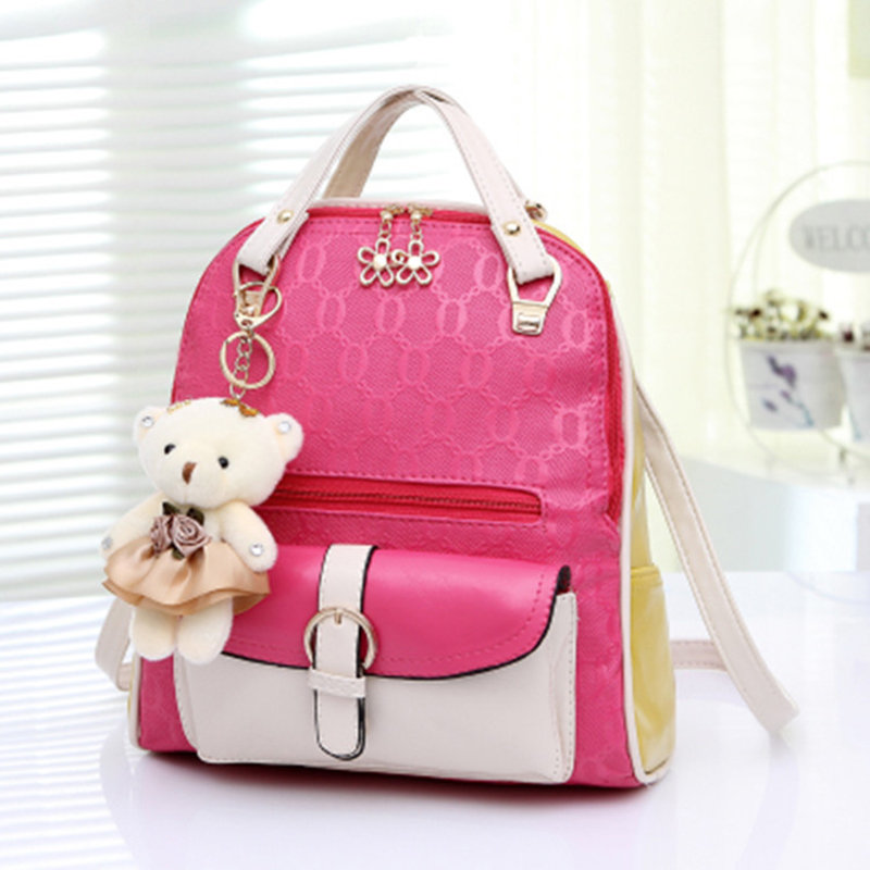 ФОТО 2017 New Winnie Mixed Colors Double Shoulder Pack Ladies Backpack Schoolbag Casual Fashion Hit Color Zipper Bag