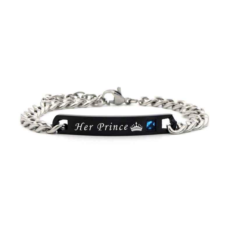 2019 подарок принц принцесса black rose золотыми стразами звено цепи Нержавеющаясталь парные браслеты Для женщин  мужчин че
