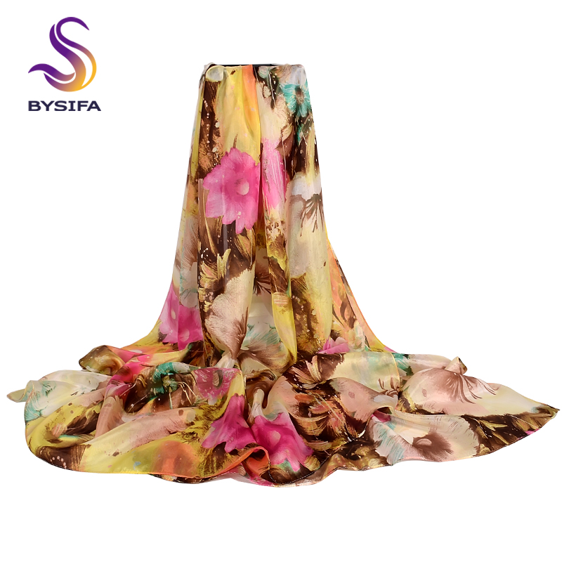 [BYSIFA] Women Floral Silk   Scarf   Shawl Winter Khaki Pink Long   Scarves     Wraps   Ultralong Ladies   Scarf   Summer Beach Shawl Cover-up