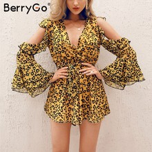 dd7da8c9 BerryGo Sexy women rompers playsuit v-neck leopard printcold shoulder long  sleeve jumpsuit romper Sashes summer casual overalls. US $18.99 / piece ...