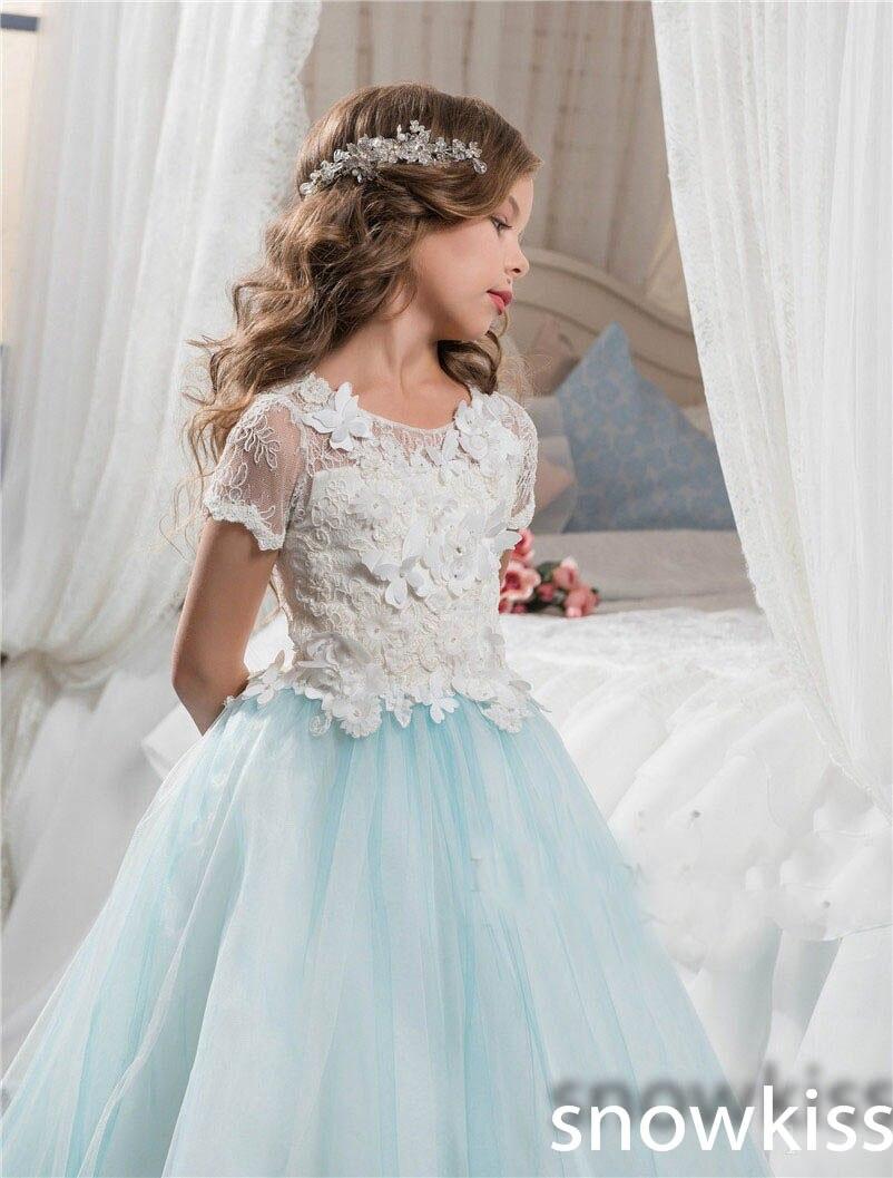 2018 sky blue vintage communion dress with lace appliques long tail ...
