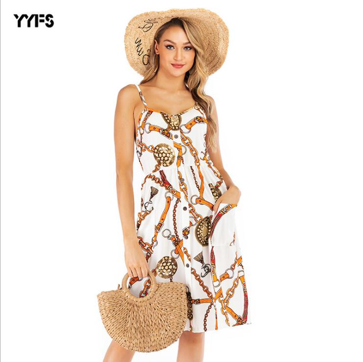 YYFS Summer New Fashion Printing Dresses Sleeveless Vestidos 2019 Bodycon Dress Sexy Party Beach Women