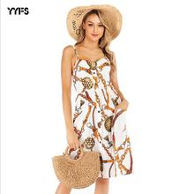 цены YYFS Summer New Fashion Printing Dresses Sleeveless Vestidos 2019 Bodycon Dress Sexy Party Beach Dress Women