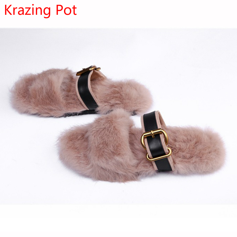 Fashion Big Size Rabbit Fur Metal Buckle Fur Brand Spring Shoes Flats Slingback Peep Toe Sandals Keep Warm Outside Slippers L81Fashion Big Size Rabbit Fur Metal Buckle Fur Brand Spring Shoes Flats Slingback Peep Toe Sandals Keep Warm Outside Slippers L81