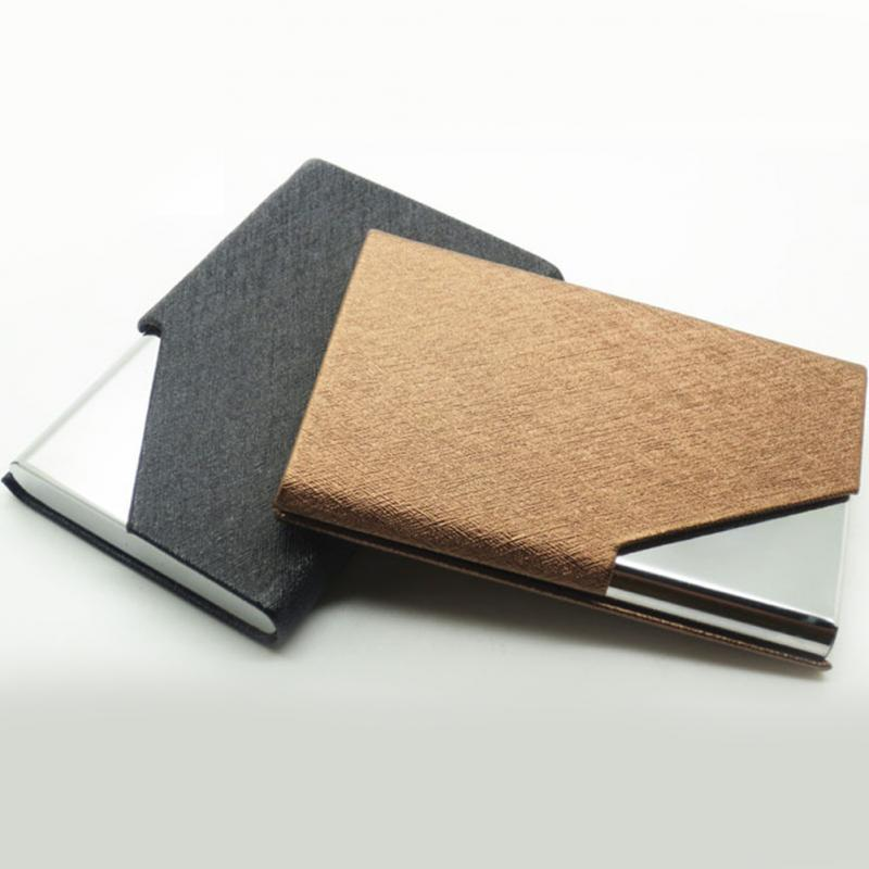 High grade leather business card holder men women waterproof name id high grade leather business card holder men women waterproof name id credit stainless steel case box wallet pocket cardcase in card id holders from colourmoves
