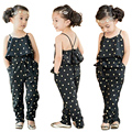 Fashion Kids Baby Girls Summer Heart Pattern Jumpsuit Romper Trousers With Belt Outfits