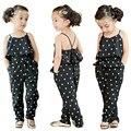 Moda Teste Padrão Do Coração Do Bebê Dos Miúdos Meninas Verão Roupas Macacão Romper Calças Com Cinto