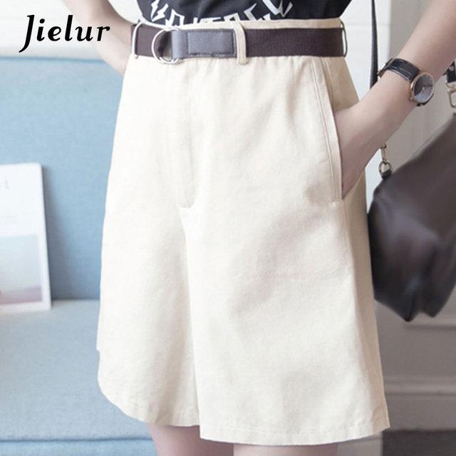 Jielur Shorts All-match 4 Solid Color Sashes Casual Shorts Women A-line High Waist Slim Short Femme Chic S-XXL Ladies Bottom 10