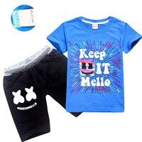 Kids boy DJ Marshmello Music Smiley Fans Face T shirt + Shorts + Cap 3pcs Clothes Sets Youth Summer Big Boys Girl Clothing Sets
