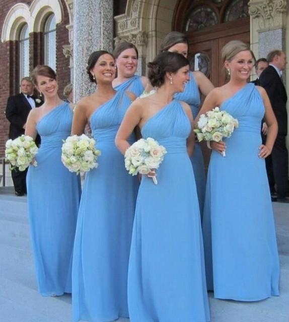 High Neck One Shoulder Royal Blue Bridesmaid Dress Chiffon A Line ...