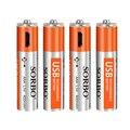 HY 1 PC AAA USB Bateria Recarregável 1.5 V 400 mAh Li-polímero Micro V8 interface Rápida 1 Horas carga Da Bateria