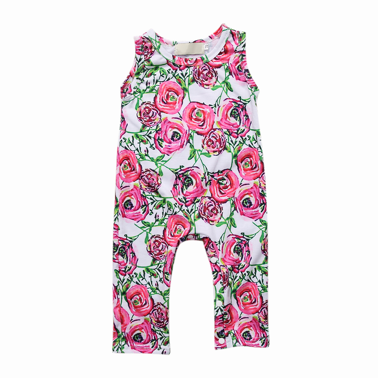 Pudcoco Toddler Newborn Baby Girl Clothes Cotton Sleeveless Pullover Rose Floral Romper Outfits 0-3Years Helen115