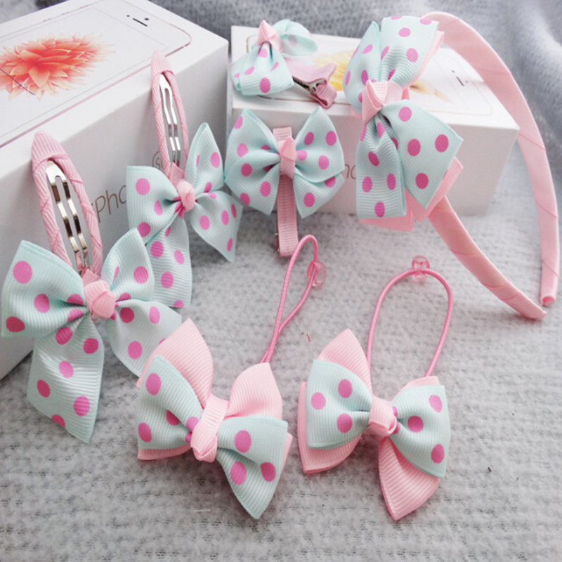 7Pcs Set Kids Girls Baby Headband Toddler Baby Cute Bowknot Hairbands Accessories Headwear Pink 5