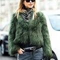 YNZZU Моды искусственный мех пальто женщин Пушистый теплый с длинным рукавом женская верхняя одежда Зеленый chic осень зимняя куртка волосатые пальто YO143