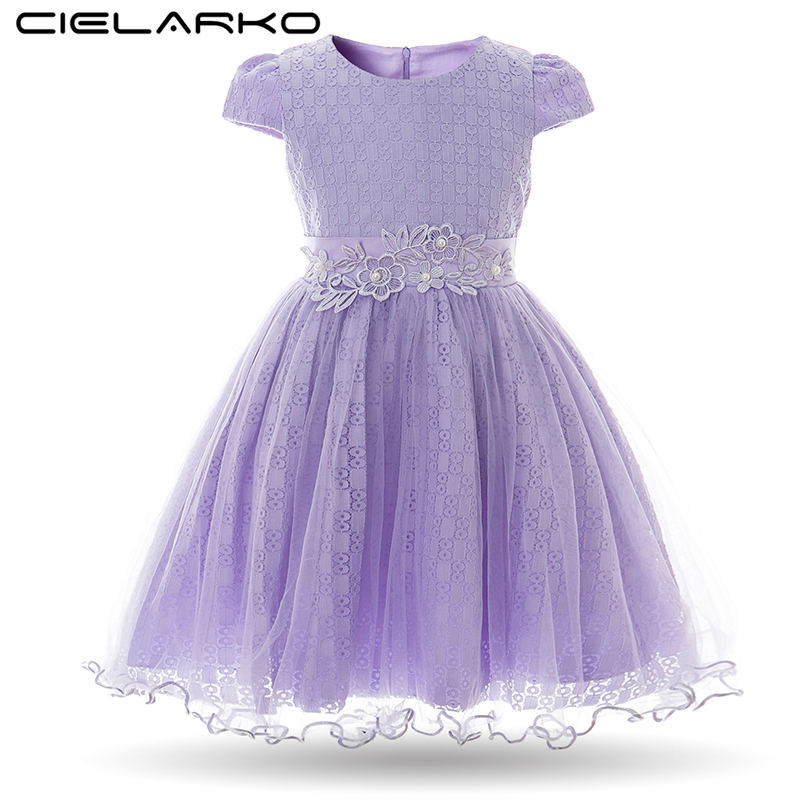 Cielarko Girls Dress Summer Flower Baby Dresses Elegant Lace Wedding Kids Dresses Children Design Princess Clothing for Girl summer kids girls lace princess dress toddler baby girl dresses for party and wedding flower children clothing age 10 formal
