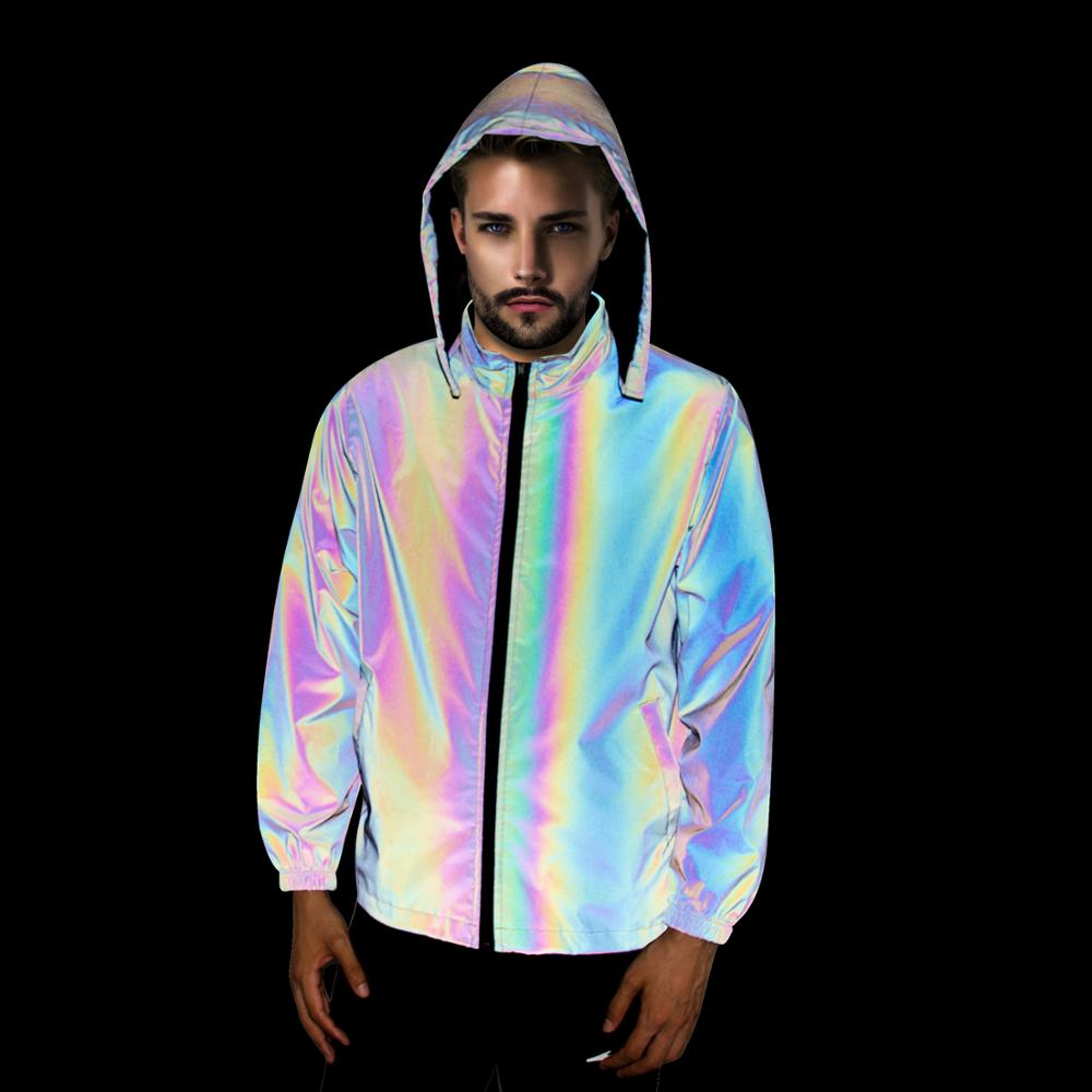 Rainbow Reflective Jacket with Hoodie and Waterproof Wind Breaker Hiking Cycling Running Safety Jacket