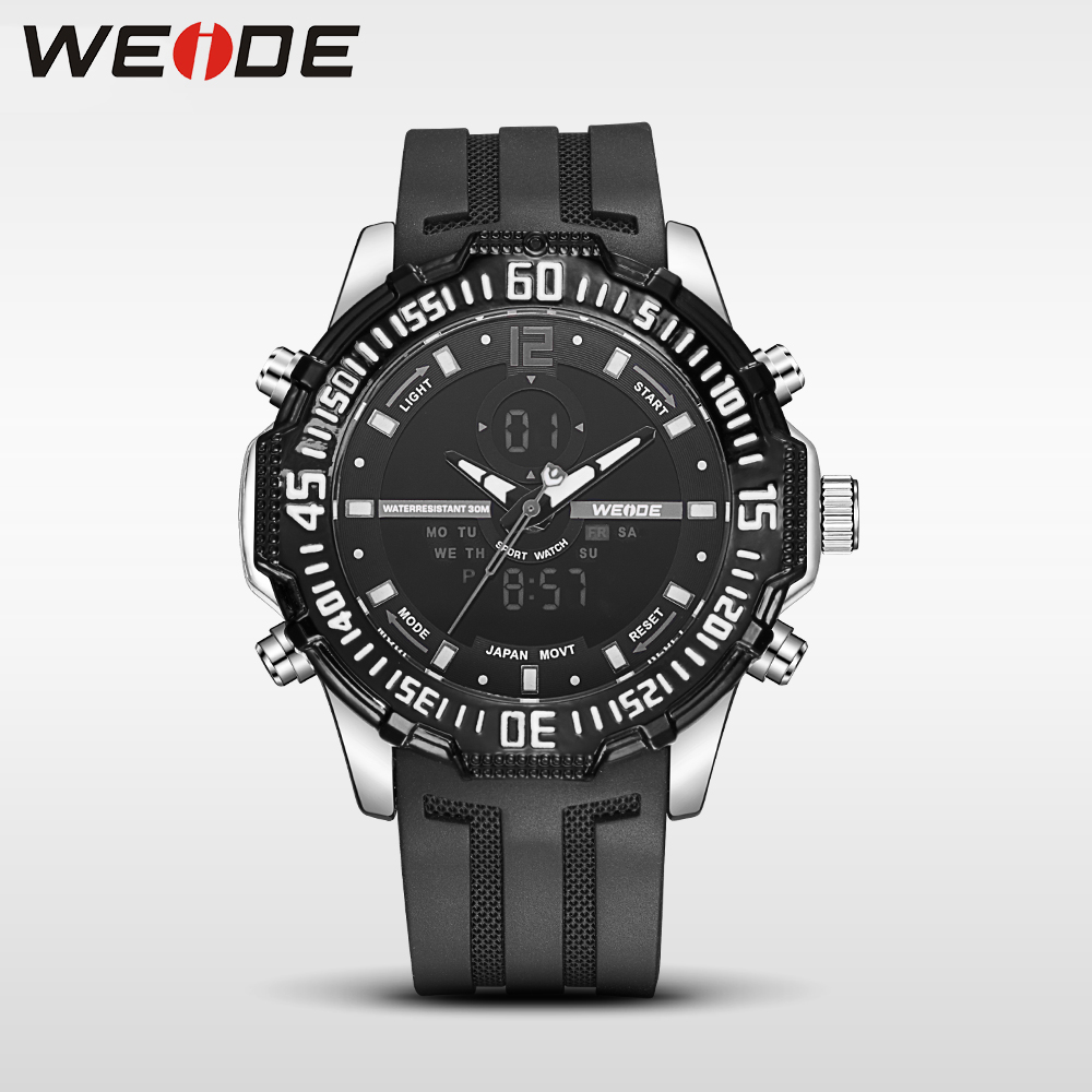 2017 hot weide men LED electronic watches top brand luxury watch black quartz sports Silicone  camping waterproof