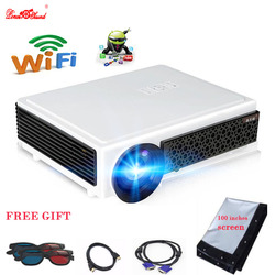 LED projector home Cinema 100 inches screen as gift full hd LED Android tv 4.4 usb wifi beamer Media Player Airplay Poner Saund