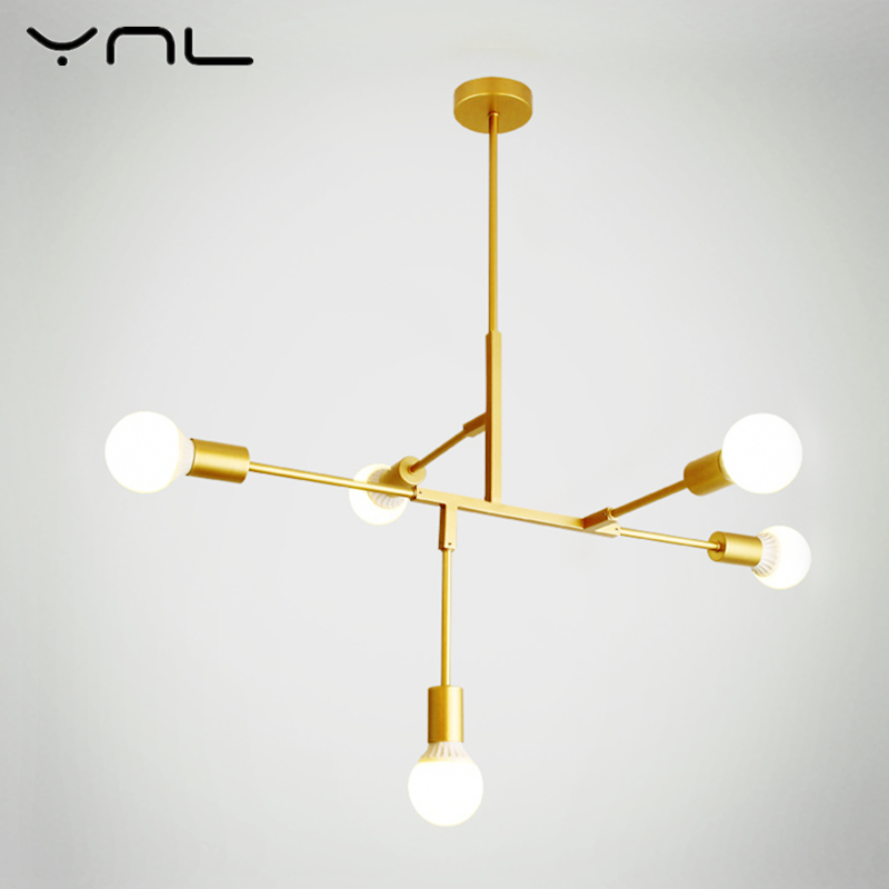 YNL Modern Nordic LED Pendant Lights E27 220V 110V Gold Black Indoor Lighting Fixture LED Hanging Lamp Kitchen Home Decor Light