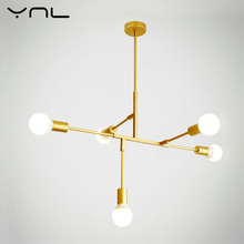 YNL Modern Nordic LED pendant lights E27 220V 110V Gold Black Indoor Lighting fixture LED Hanging lamp kitchen home decor light modern creative spider chandeliers lights fixture white black nordic stretchable working drop light home indoor hanging lamp led