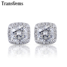 цены Transgems 14K White Gold Center 1ct 6mm F Color Cushion Cut Moissanite Halo Stud Earrings for Women Push Back with Accents