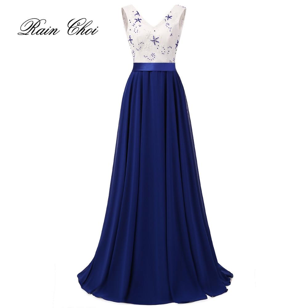 Långa Aftonklänningar 2019 New Fashion V Neck Sleeveless Chiffon Formell Prom Kappa Vestido De Noche