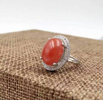 Natural south red agate  Ring Natural gemstone Ring S925 sterling silver trendy luxurious big round women party gift Jewelry