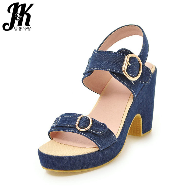 JK Denim Thick High Heeled Summer Women Sandals Platform Sandals Shoes Open Toe Footwear 2018 Fashion Ladies Shoes Big Size 43 2016 package with high heeled sandals women s shoes formal platform thick heel open toe shoe 40 43 plus size women s small yards