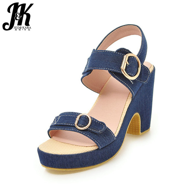 a4fa8b34ffec JK Denim Thick High Heeled Summer Women Sandals Platform Sandals Shoes Open  Toe Footwear 2018 Fashion