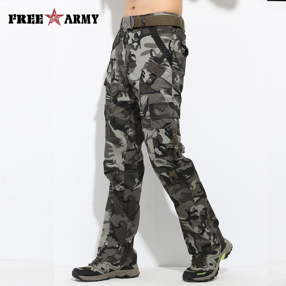 Large Size Straight Men's Cargo Pants Camouflage Cotton Full Length Pockets Men Pants Casual Camo Workwear Pants Plus MK-728C