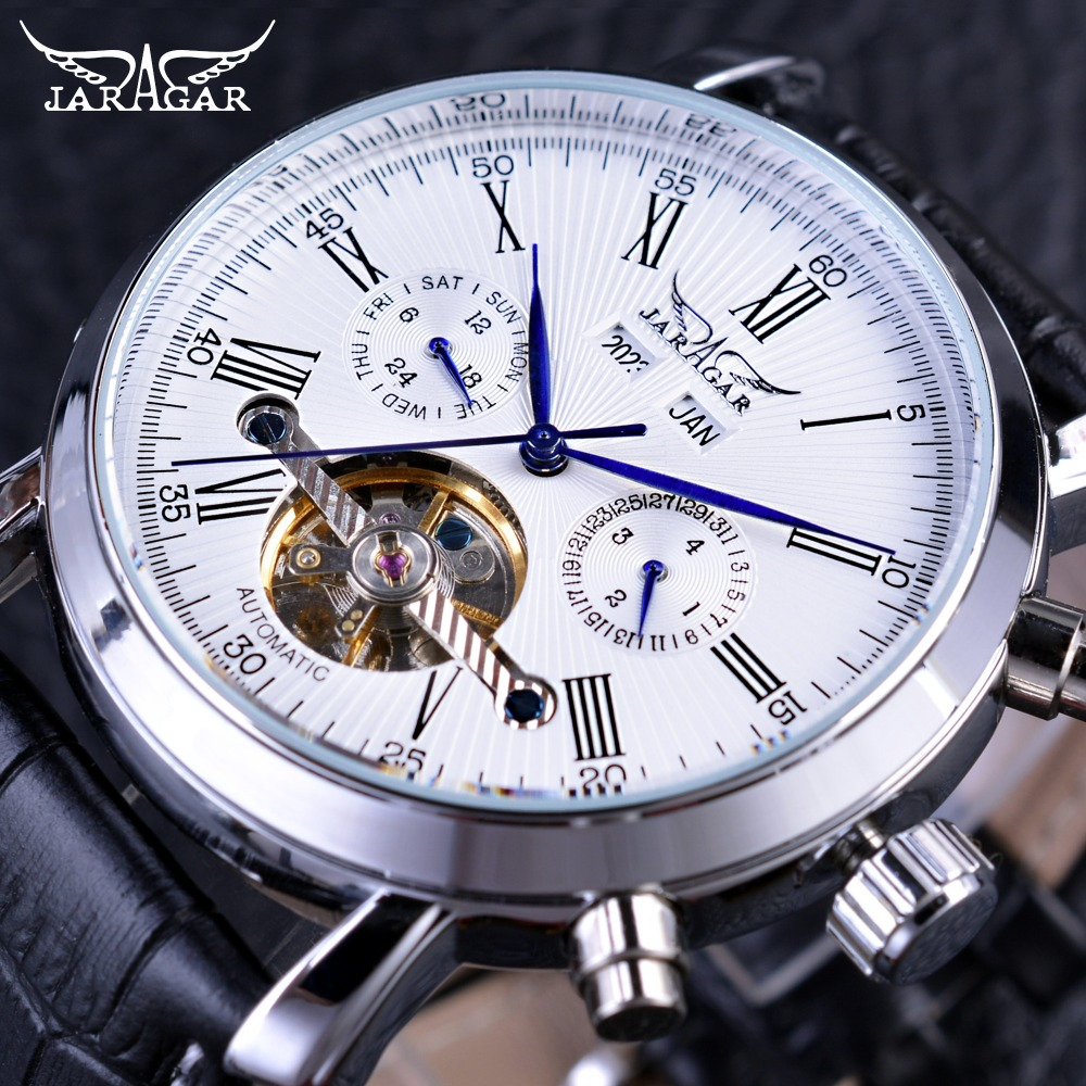 Jaragar 2017 Fashion Design Classic Tourbillion Series Month Year DIsplay Men Watch Top Brand Luxury Automatic Mechanical Watch