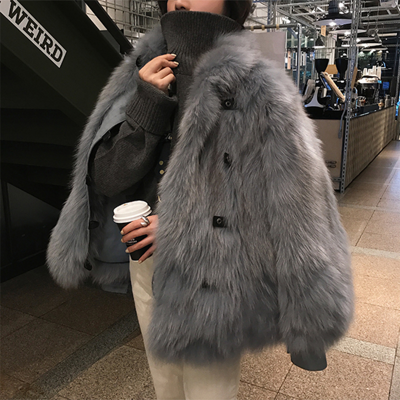 2019 New Design Women's Real Fox Fur Coat Long Sleeve Natural Fur Jacket Whole Leather Fur Coat Single Breasted