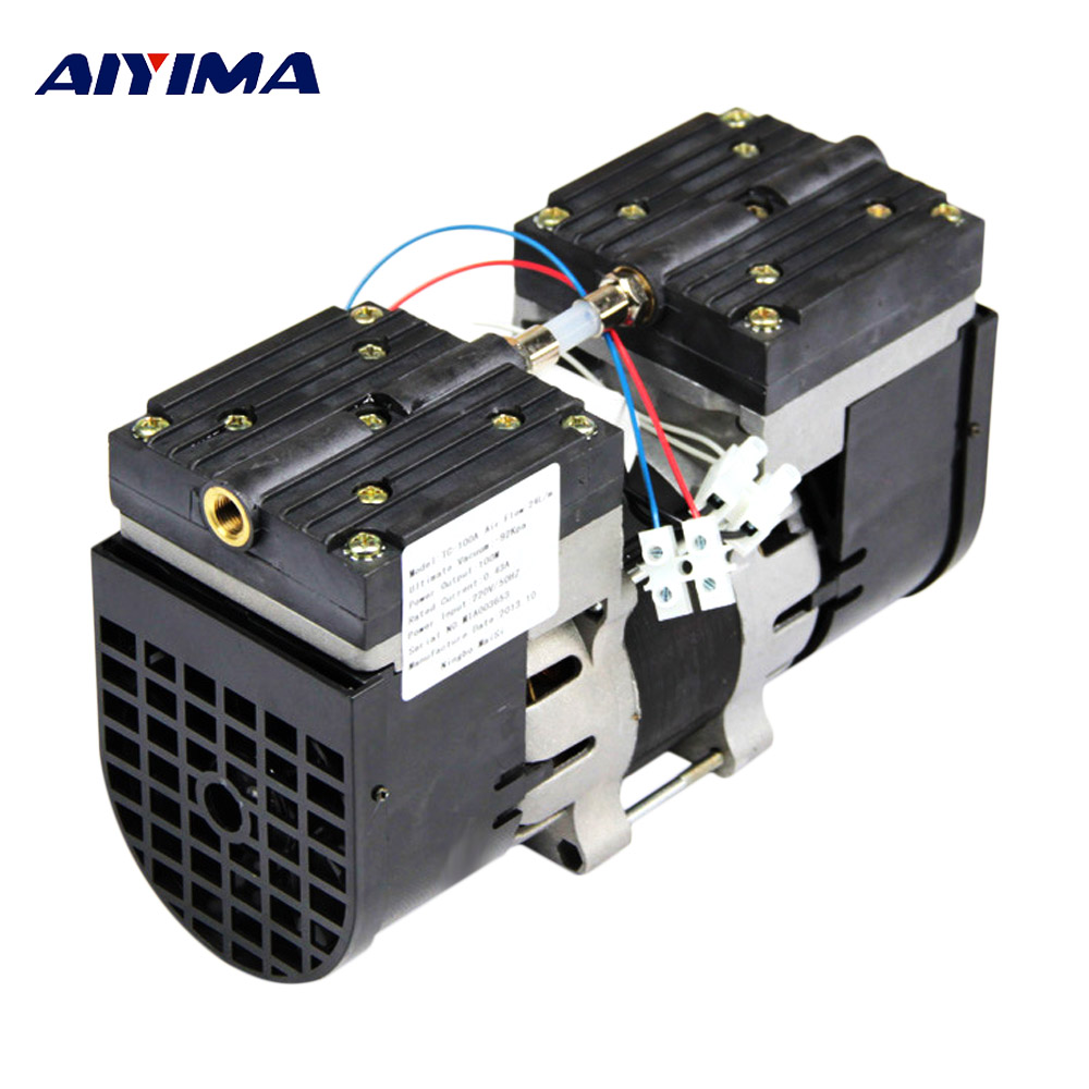 Aiyima 110V 220V Micro Vacuum Pump Double Head Oilless Diaphragm Vacuum Pumping 100W 60HZ 24L MIN