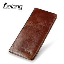 LIELANG Brand Men Wallets Genuine Leather Top Cowhide Leather Men's Long Wallet Clutch Wrist Bag Men Card Holder Coin Purse 2017