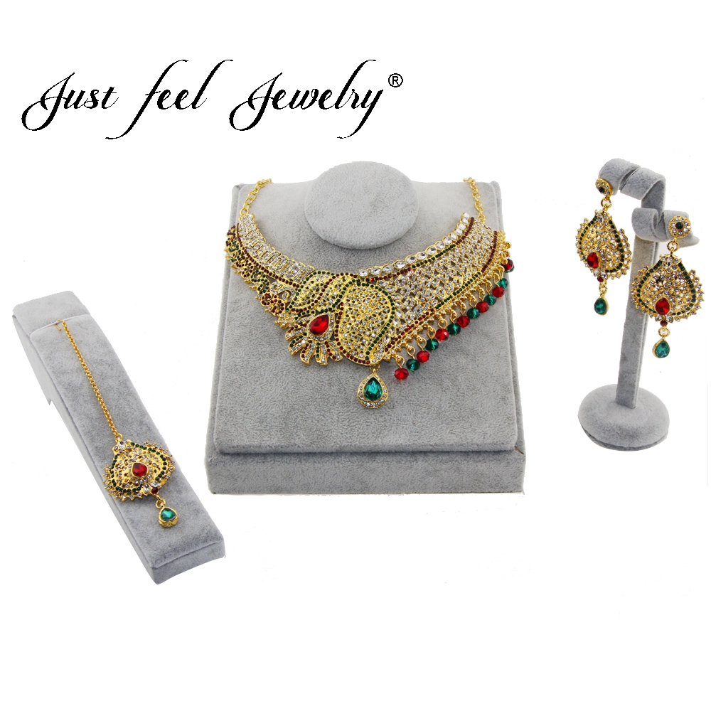 JUST FEEL India Kundan Gold Color Jewelry Sets Crystal Choker Necklace Earring Headdress Sets For Women Dubai Statement Jewelry