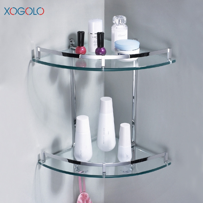 Xogolo Wholesale And Retail Copper Chrome Plated Double Tier Bathroom Glass Corner Shelf With Hooks Bathroom Accessories direct selling hot sale bolt inserting type free shipping bathroom accessories solid chrome double shelf wholesale 84012