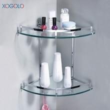Xogolo Al Por Mayor Y Al Por Menor de Cobre Cromado Baño Doble Capa Estante de La Esquina de Cristal Con Ganchos Accesorios de Baño