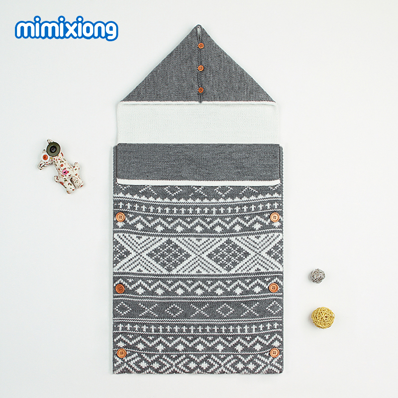Baby Stroller Winter Sleep Bag Autumn Knit Newborn Swaddle Wrap Sleep Sack Thicken Warm Envelopes For Infant Boys Girls Blankets