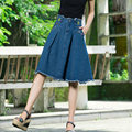 New Arrival Plus Size Pockets Jeans Pleated Skirts Women Fashion A-line High Waist Knee Length Denim Skirts With Zipper
