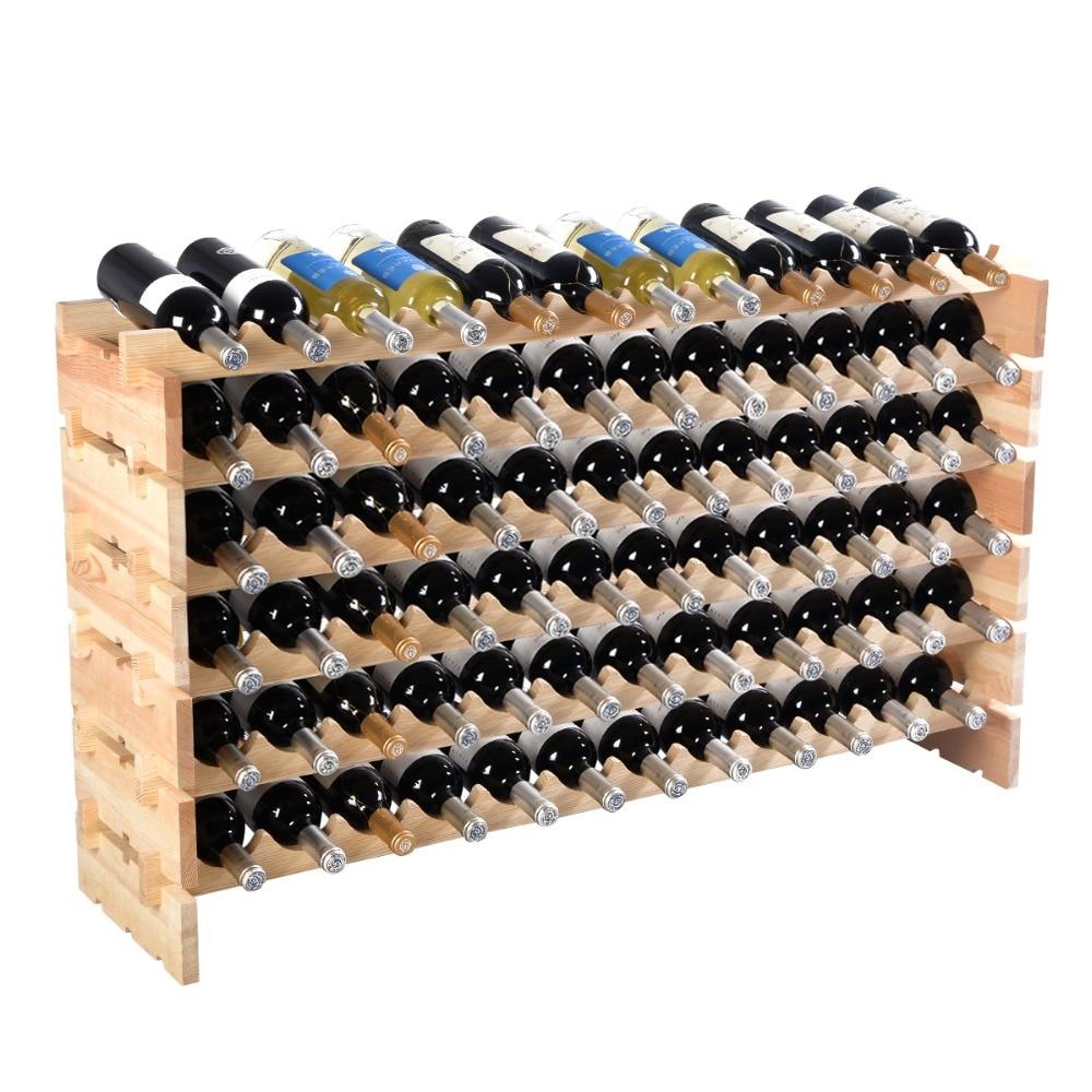 72 Botella Estante De Vino Botellero De Madera De Pino Sostenedor En Bodega Bar Hogar HW51130