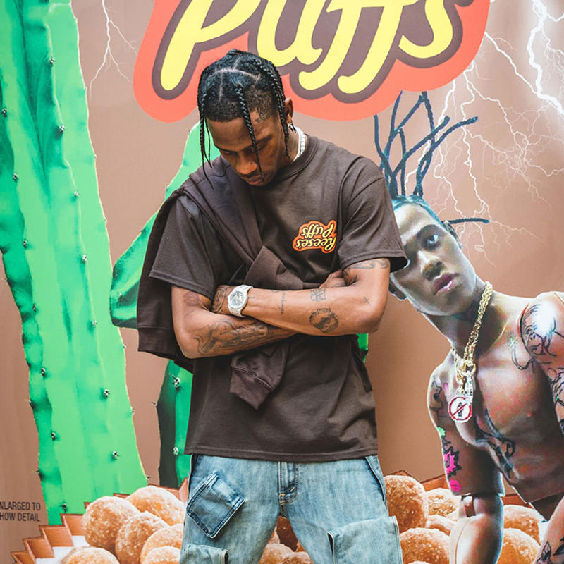 Travis Scott X R Eese's P Uffs Enjoy Today Tee T Shirt Men Women 1:1 High Quality Summer Style Travis Scott ASTROWORLD T-shirt
