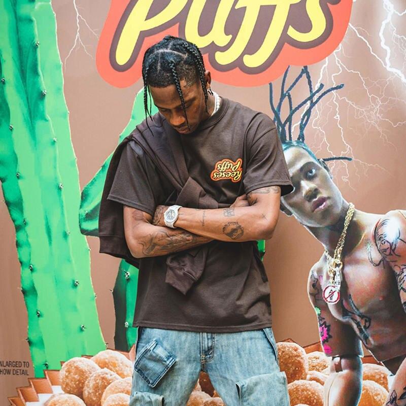 Travis Scott x R eese's P uffs Enjoy Today Tee   T     shirt   Men Women 1:1 High Quality Summer Style Travis Scott ASTROWORLD   T  -  shirt