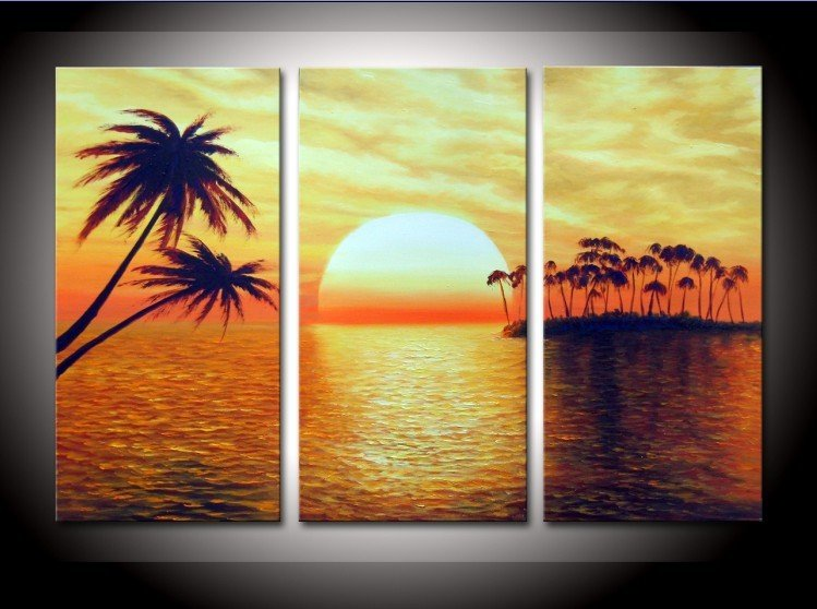 hand painted The Islands round sun High Q. Wall Decor Modern ...