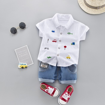 Summer Kids Toddler Boy Car Shirt Jeans 1 2 3 4 Years Clothing Set Short Sleeve Cotton Suit Children Clothing Boys Outfit 1