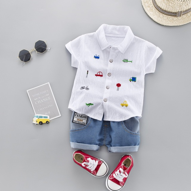 Summer Kids Toddler Boy Car Shirt Jeans 1 2 3 4 Years Clothing Set Short Sleeve Cotton Suit Children Clothing Boys Outfit