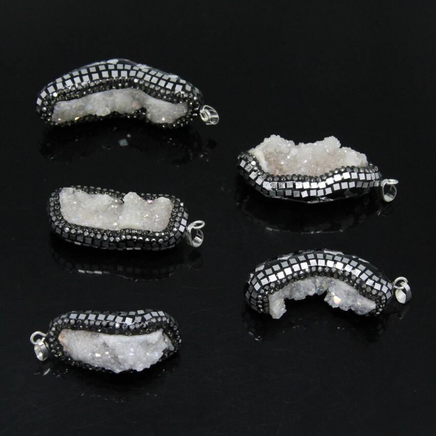 5PCS AB Titanium White Druzy Gems Nuggets Pendant,Stone Drusy Geode Paved Tiny Slice sli ...