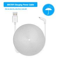 Cable de alimentación de carga blanco de 6M/20 pies, Cable plano resistente a la intemperie, Cable Micro USB de aleación de aluminio, de carga/Cable de alimentación sin enchufe