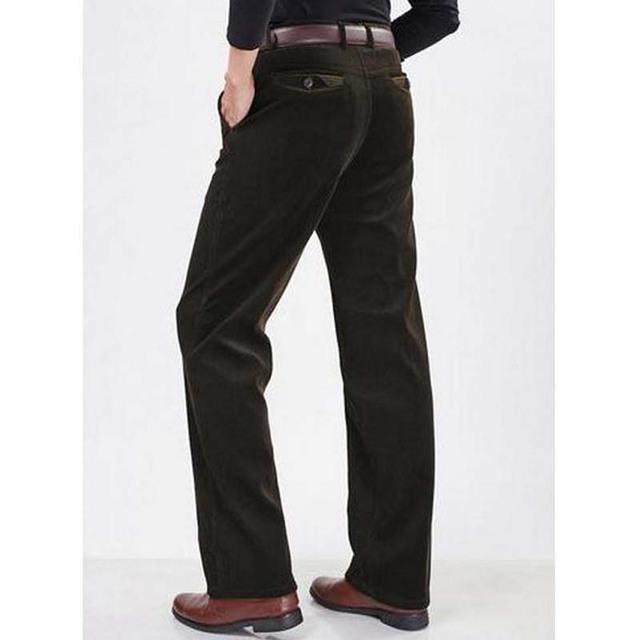 Hombres del invierno del otoño de pana pantalones de hombre pantalones rectos flojos elásticos de gran tamaño de cintura alta de pana pantalones casuales pantalon